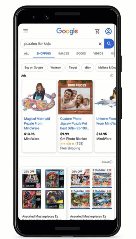 free Google Shopping listings example