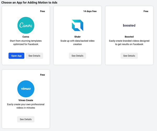 facebook business app store with apps for adding motion to ads