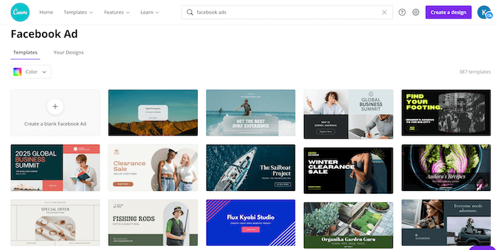 canva's facebook ad template library