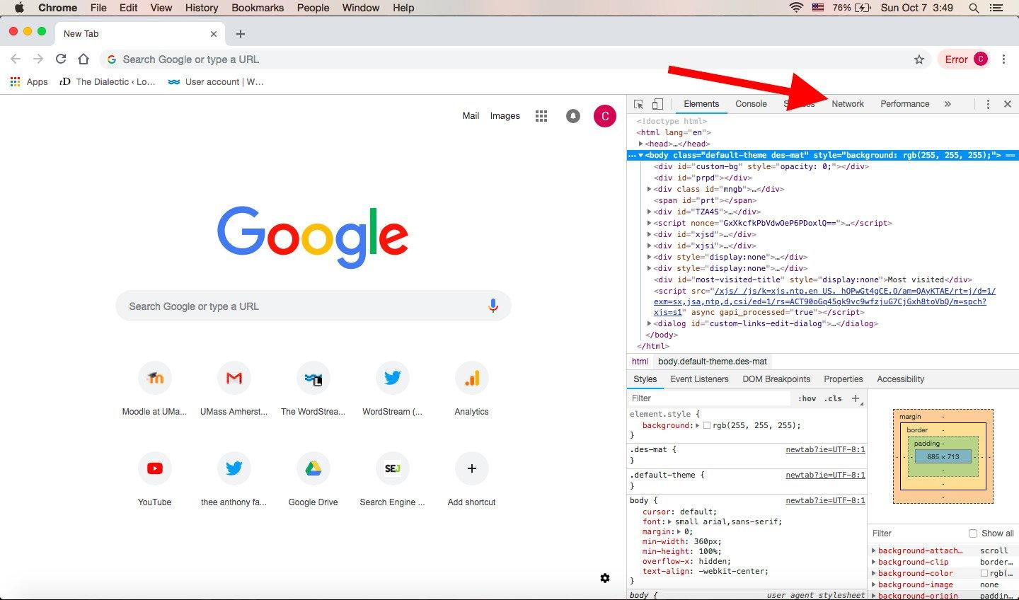 gclid-chrome-developer-tools-arrow
