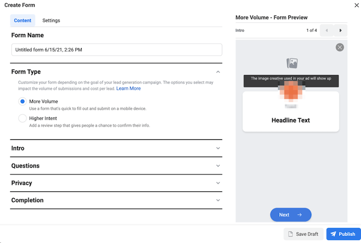 facebook ads lead ad form builder