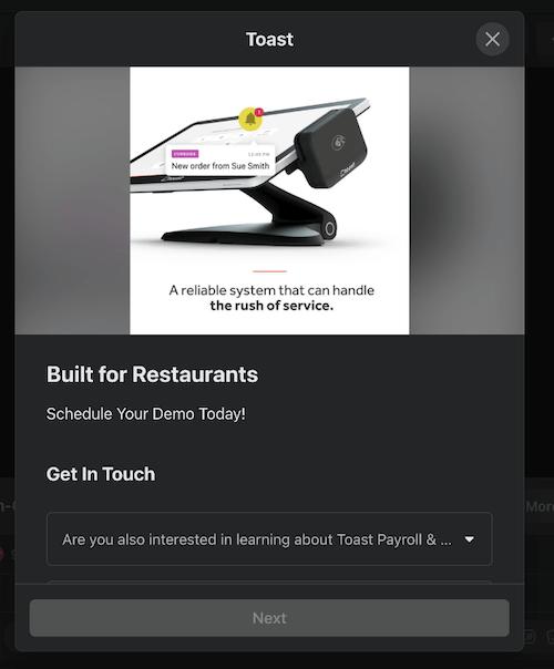 example of convenient facebook lead ad