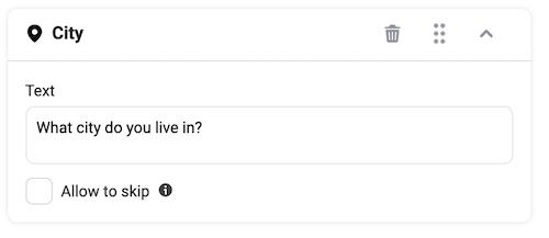 facebook messenger ad question setup