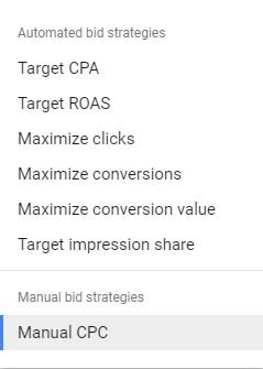 """Manual CPC"" in list of bidding strategies"