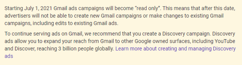 Gmail ads going away announcement