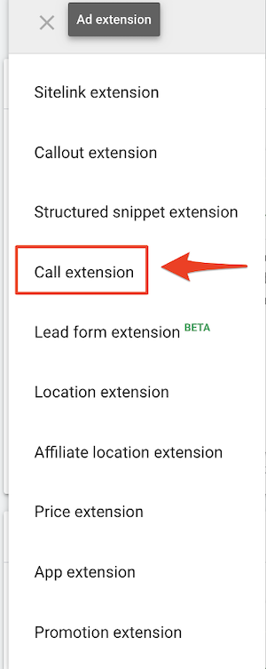 google ads for local business call extension selection