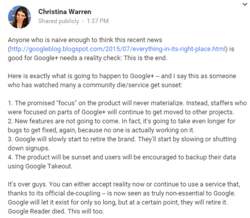 facebook post google+ and youtube split up