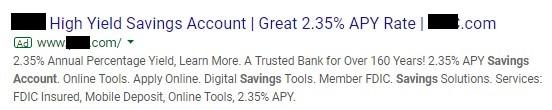 Google ad copy mistake example