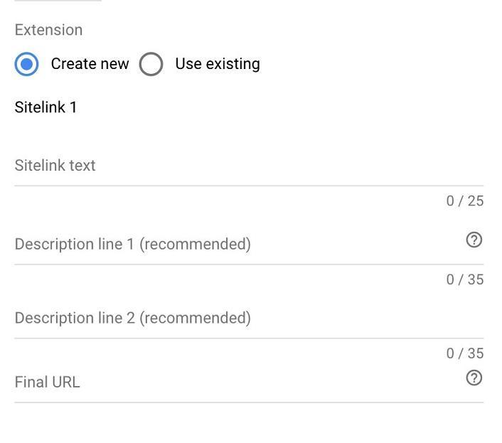 how to create sitelinks example