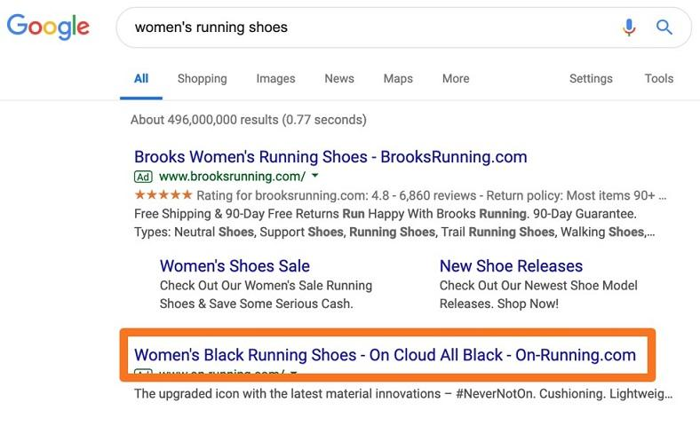 example ad for black women's running shoes