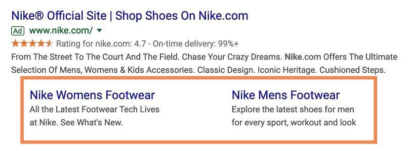 sitelinks ad example