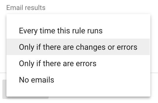 Google Ads automated rules email options