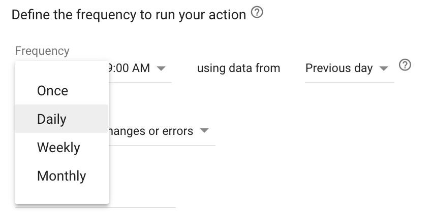 Google Ads automated rules frequency