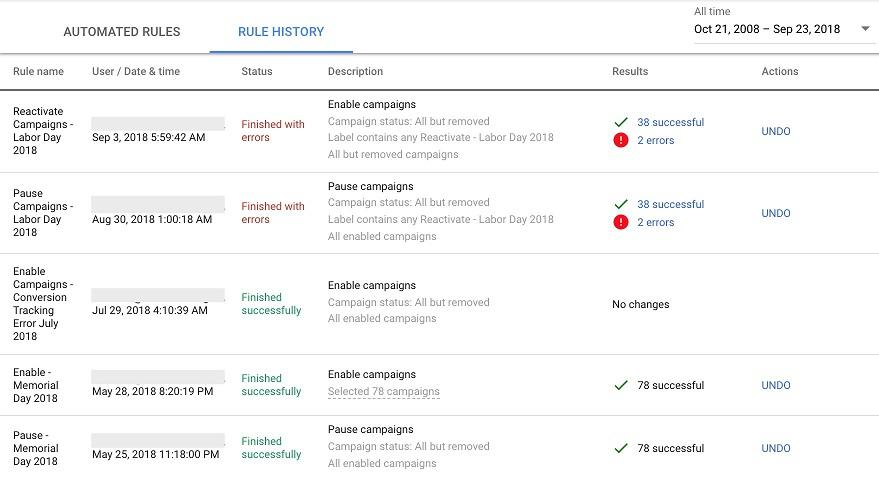 Google Ads automated rules history