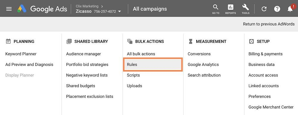 Google Ads automated rules reports navigation