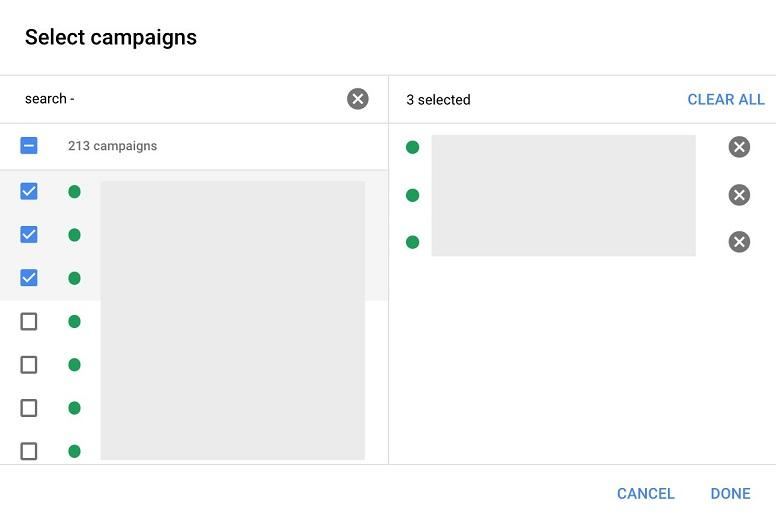 Google Ads automated rules select campaigns