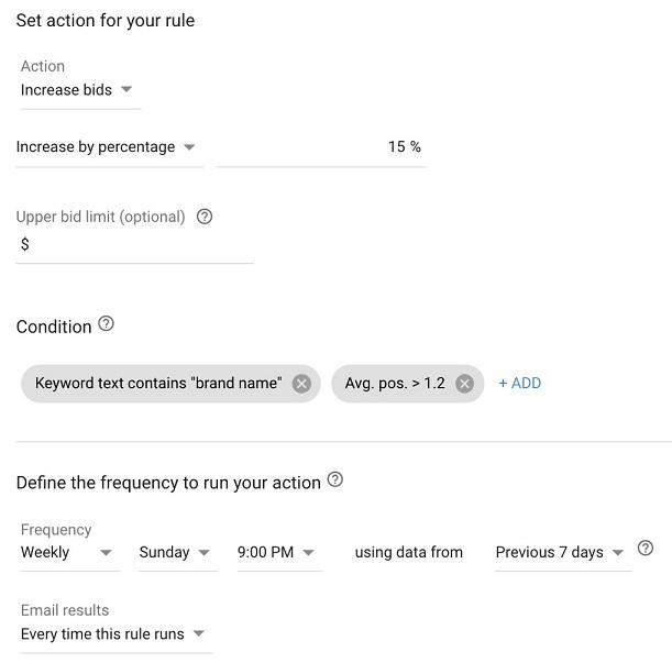 Google Ads automated rules set actions