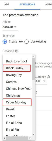 Black Friday Promotion Extensions UI