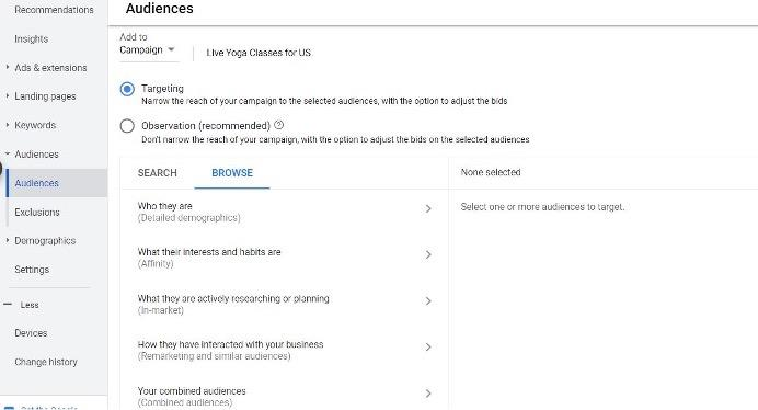 google ads audiences tab, used for layering audiences onto broad match keyword targeting