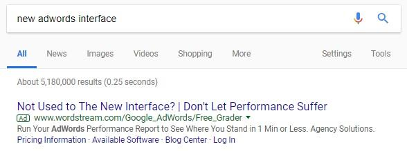 example headline of a Google ad on the SERP