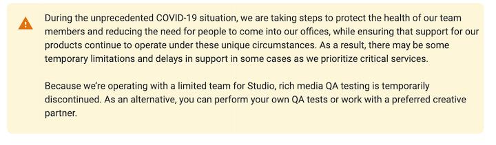 notification for google ads creative studio qa limitations