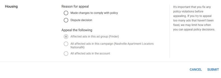 google ads disapproval appeal form