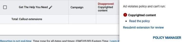 google ads disapproval for copyrighted content
