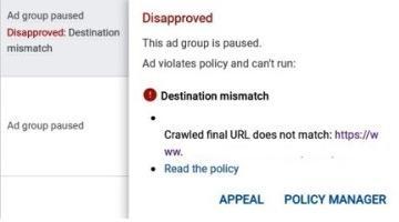 screenshot of google ads destination mismatch disapproval