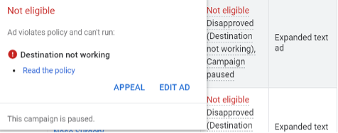 """screen shot of """"destination not working"""" google ad disapproval"""