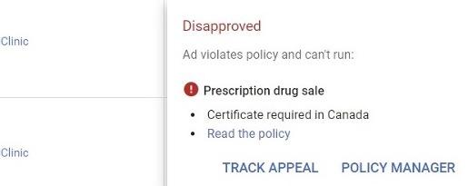 google ads industry-specific disapproval