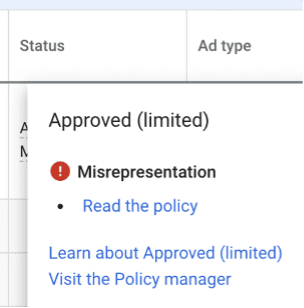 google ads disapproval for misrepresentation
