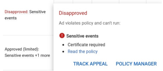 google ads disapproval for sensitive events