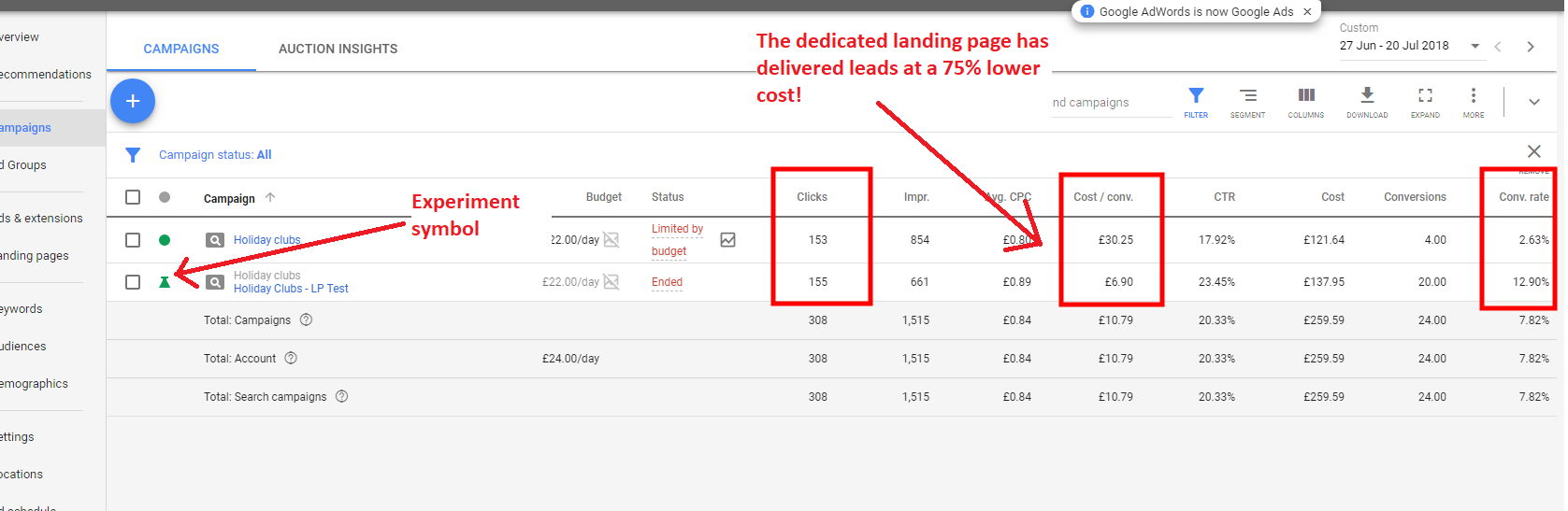 drafts and experiments in google ads
