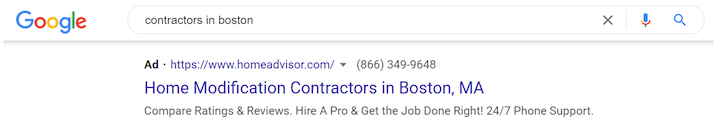 geotargeted google ad example