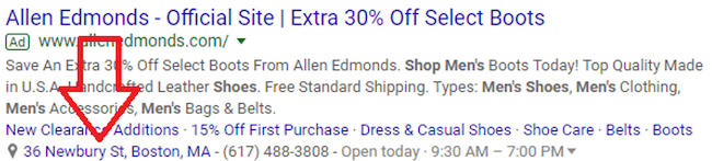 google ads geotargeting ad with location extension
