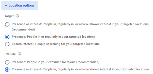 google ads geotargeting setup—three choices in location options
