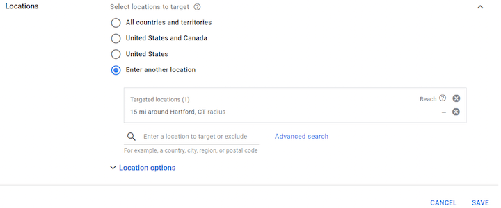 google ads geotargeting setup—locations section