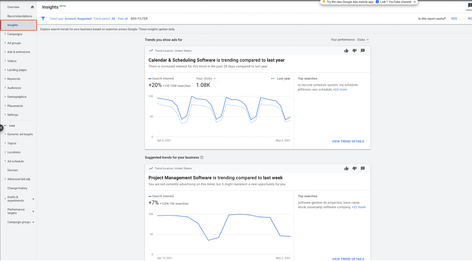 google ads insights dashboard