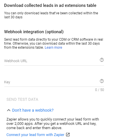 google ads lead form extension delivery option zapier