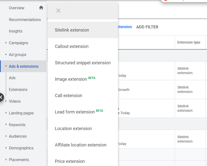 google ads lead form extension new
