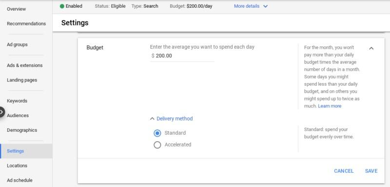 Google Ads accelerated delivery