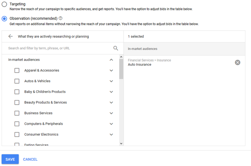 google adwords in market audiences for search