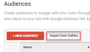 google analytics import audience from gallery