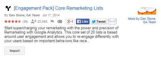 google analytics core remarketing list