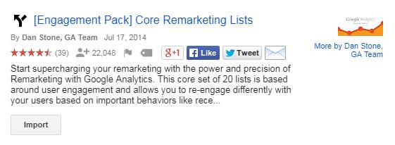 google analytics core remarketing list