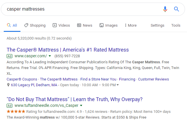 google-competitive-ad-policy-tuft-and-needle-example