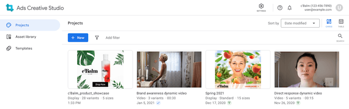 example google ads creative studio project library
