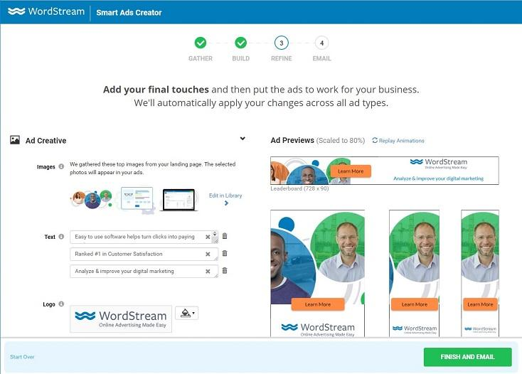 WordStream's Smart Ads Creator tool in process