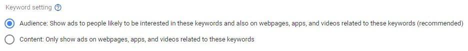 Google Display Network keyword targeting options