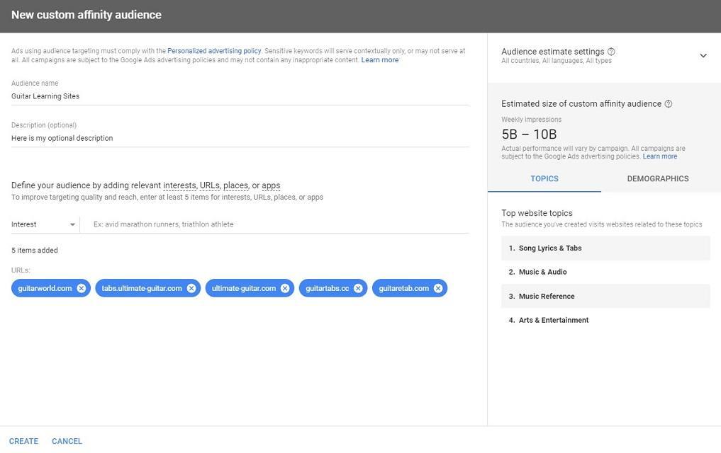 Colocaciones de red de Google Display afinidad audiencia